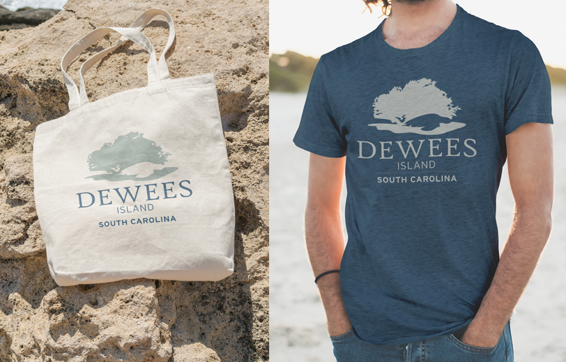 dewees island tshirt and tote